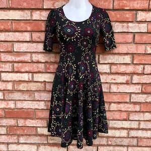 LulaRoe Nicole black printed dress